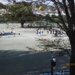 広い校庭でサッカー教室
